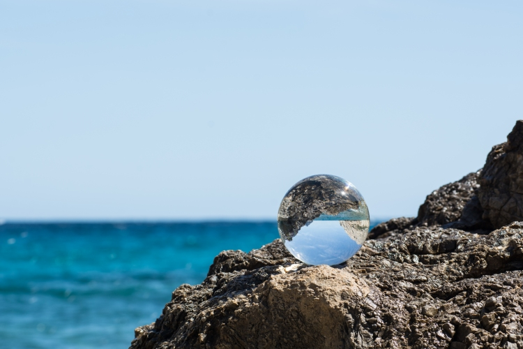 Glassball  at Mediterranean  Sea